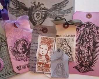 handmade gift tag bundle - RELIGIOUS REDUX - madonna, icon