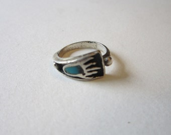 vintage handmade silver and turquoise ring - BEAR PAW - size 6.75