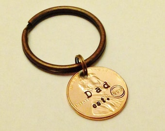 Dad Est. 2018: First 1st Fathers Day Gift, Dad Established In Year Date; Daddy Keychain, Dad Since, Gift from Child, Stamped Penny 1959-2018