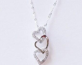 Dainty Triple Open Heart Necklace, Sterling Heart Charm Necklace, Heart Necklace, Silver Heart Necklace, Triple Heart Pendant, Love Necklace
