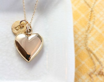 Plain Gold Heart Locket Necklace, 12k Gold Filled Vintage Pendant with Custom Initial Charm - Golden Love