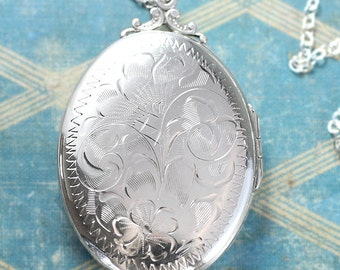 Large Oval Sterling Silver Locket Necklace, Vintage Birks Photo Picture Pendant - A Piece to Love
