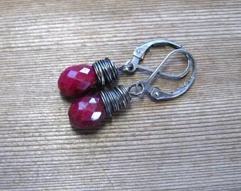 Raw Ruby Earrings,  Wire Wrapped In Sterling Silver,  Red Drop Earrings,  Ruby Jewelry, July Birthstone