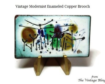 """Artisan Enamel Copper Brooch with Colorful Abstract Hand Painted Motif 2.25"""" X 1.25"""" - Vintage 50's Enameled Modernist Costume Jewelry"""
