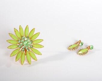 Vintage 1960s Chartreuse Brooch Earrings - Green Rhinestone Set -