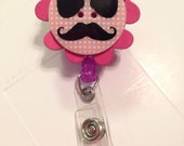 Retractable Pacifier Binky ID Badge Holder Handmade Mustache Design Funny Pink Unisex