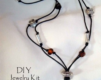 DIY Jewelry Kit Necklace Kit Wrapped wire pendant black cord brown and silver beaded necklace making  All included w instructions EASY