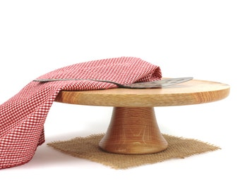 """Wooden 12"""" Red Oak Cake Stand / Pedestal Cake Plate /Cupcake Stand"""