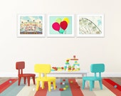 kids room art, set of 3 prints, playroom wall art, childrens art, set of 3 photos, bright art, wall art photos, colorful prints, nursery art