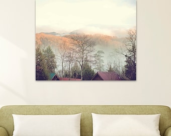 nature canvas art Smoky Mountains photography large wall art landscape canvas print fine art photography fog Appalachia neutral wall art