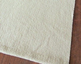 "Khaki Beige Handwoven Cloth Table Runner or Placemat Fabric for Rustic Farm Cottage Chic Country Cabin Beach House Fall Home Decor 12.5""W"