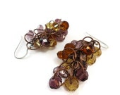 Purple and Orange Copper Cluster Dangles, Copper Beaded Chainmaille Cluster Earrings, Orange and Purple Glass Earrings Purple Jewelry Orange