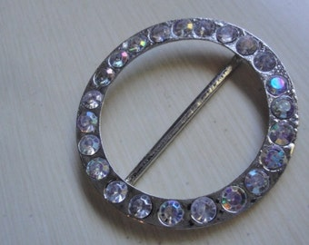 """2.5"""" Silver Tone Round Metal Buckle with Clear Iridescent Glass Rhinestones OCM"""