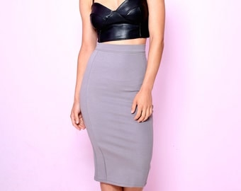 SALE 1 left! Black Faux Leather Crop Top