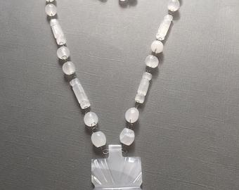 Carved White Quartz Beaded Necklace