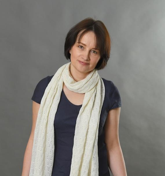 Linen Scarf | Ivory Scarf | Knit Scarf | Knitted shawl | Wedding scarf  | Silk scarf