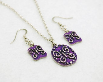 Purple Butterfly Jewelry Set in Silver - Hand-painted, Limited Edition