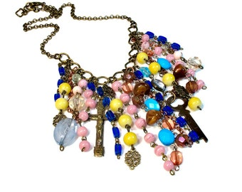 Repurposed Bohemian Waterfall Necklace, Statement Necklaces, Boho, Beaded, Gypsy Jewelry in Pink Blue Yellow, Rosary, Key