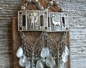Shadow          Antique Saint Hubert Gemstone Chandelier Earrings