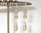 Antique Champagne Pearl Earrings, Long Dangle Bridal Earrings Vintage 1920 Art Deco STERLING SILVER Rhinestone Flapper Gatsby Wedding