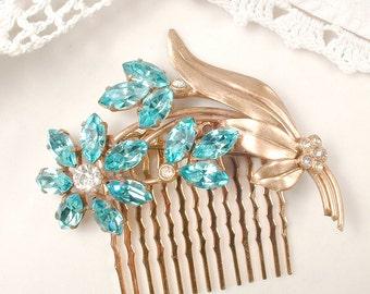 Aqua Bridal Hair Comb OR Sash Brooch, Turquoise Rhinestone Gold, Teal Blue Crystal Flower Vintage Pin/OOAK Wedding Hair Accessory Head Piece