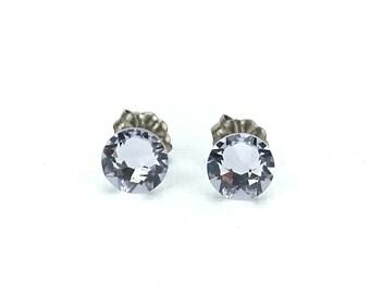 Titanium Studs Earrings Smokey Mauve Swarovski Crystals on Titanium Posts Earrings for Sensitive Ears, Nickel Free Jewelry, Pale Purple