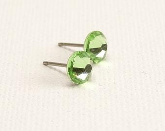 Peridot Titanium Post Earrings, Nickel Free Green Swarovski Crystal Studs, Titanium Posts for Sensitive Ears, Hypoallergenic Jewellery