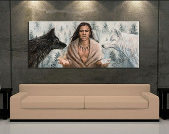 Native American Art Wolf Painting