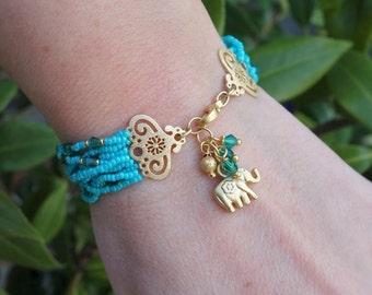 Turquoise Seed Beaded Elephant Charm Bracelet with Swarowski Crystals