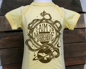 Firefly Baby Bodysuit & Toddler T-shirt // I Aim To Misbehave Serenity Bodysuit // Geeky Baby One Piece in Butter Yellow and Chill Blue