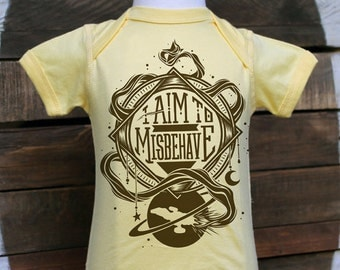 Firefly Baby Bodysuit & Toddler T-shirt // I Aim To Misbehave Serenity Bodysuit // Geeky Baby One Piece in Butter Yellow