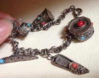 Charm Bracelet – Vintage Hand Made Charms 1950s Jewelry