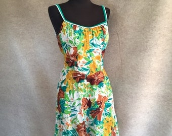Vintage 60's Sun Dress, by DeWeese, Sleeveless, Green, Brown, White, Rockabilly, Medium, with Built In Bra