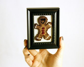 Ready to Ship! Gingerbread Man in a Mini Frame. Stocking Stuffer, Christmas Decor, Punchneedle Embroidery Fiber Art. Christmas Cookie Decor.