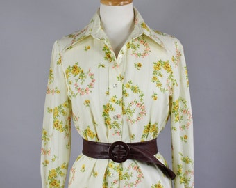 Vintage 70s Women's Cream Floral Spring Summer Wear to Work Boho Long Sleeve Shirt Blouse