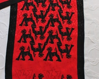 Vintage 90s Women's MC Escher Print Optical Illusion Print Red Black Lions Designer Silk Modern Art Rectangle Scarf