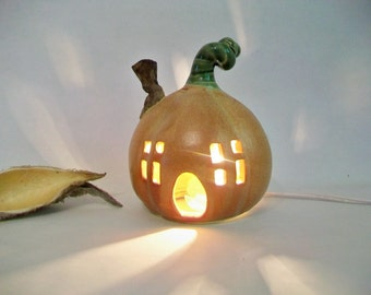 Pumpkin Fairy House / Night Light  - or Garden -- Ready to Ship --  Medium  Size  --  Handmade, Wheel Thrown