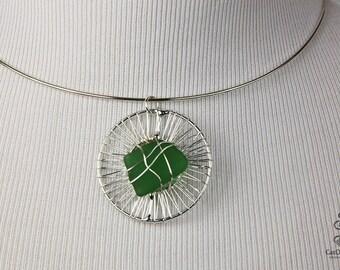 SEA GLASS Pendant, Handmade Sea Glass Pendant, Sea Glass Jewelry, Green Sea Glass, Beach Glass, Beach Jewelry, Wire Wrapped Sea Glass