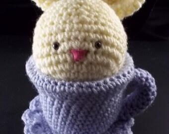 Tea Cup Pet - Cream Bunny and Lavender Tea Cup