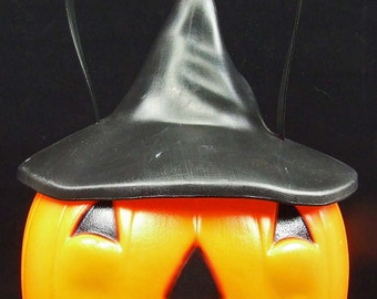 Vintage Empire USA Halloween Blow Mold Pumpkin with Lighted Witch Hat Trick Treat Candy Decoration