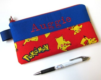 Handmade pencil bag with zipper - Pokemon in red - embroidery monogram name - storage bag - back to school - personalized bag