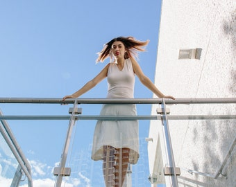 NON NOON alice dress / organic knit cotton bamboo white stretch dress v neck small medium