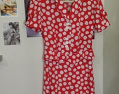 red and white rayon dress
