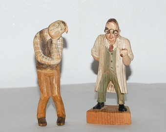 Vintage Sneaky Dentist & Bandaged Patient  ~  2 wonderful German Wood Zahnarzt Hand Carvings