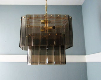 Mid Century Smoked Glass Prism Chandelier