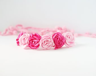 Girl Party- light pink and hot pink singed satin rose flower halo headband bow