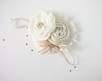Creme de la Creme-  ivory cream singled satin rosette with champagne metallic rosette and bow headband