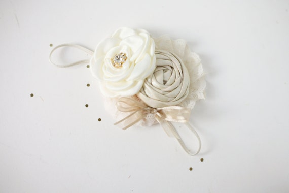 Creme de la Creme-  ivory cream singled satin rosette with champagne metallic rosette and bow headband