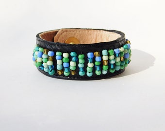 Fitbit Flex Bracelet Wearable Technology Aqua Pale Green Turquoise Blue Gold Beaded Black Leather Fitbit Alta Cuff Fitbit ChargeHR Cuff Band