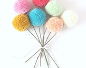 custom yarn pom pom flowers (select quantity of flowers + list colors at checkout)